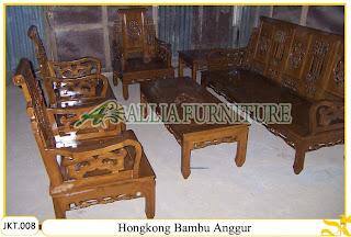 Set Kursi Tamu Ukiran Kayu Jati Hongkong Bambu Anggur