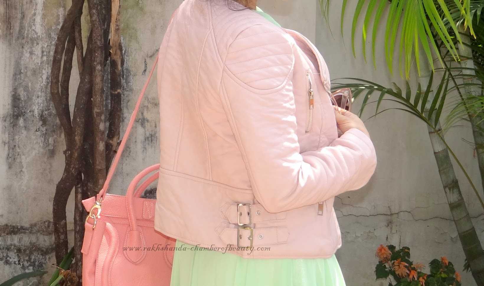 Delayed pastels, fashion, Indian fashion blogger, OOTD, outfit of the day, StyleMoi, styling a pastel leather jacket, Chamber of Beauty