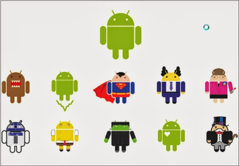 DROID OF A THOUSAND FACES: The Android logo's creator, Ms Irina Blok, and her colleagues agreed that the logo, like the software, should be open-sourced, giving rise to many reinterpretations of its design.