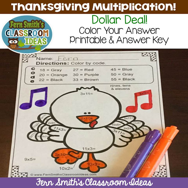 https://www.teacherspayteachers.com/Product/Dollar-Deal-Thanksgiving-Color-Your-Answers-Multiplication-Printable-Answers-2195936