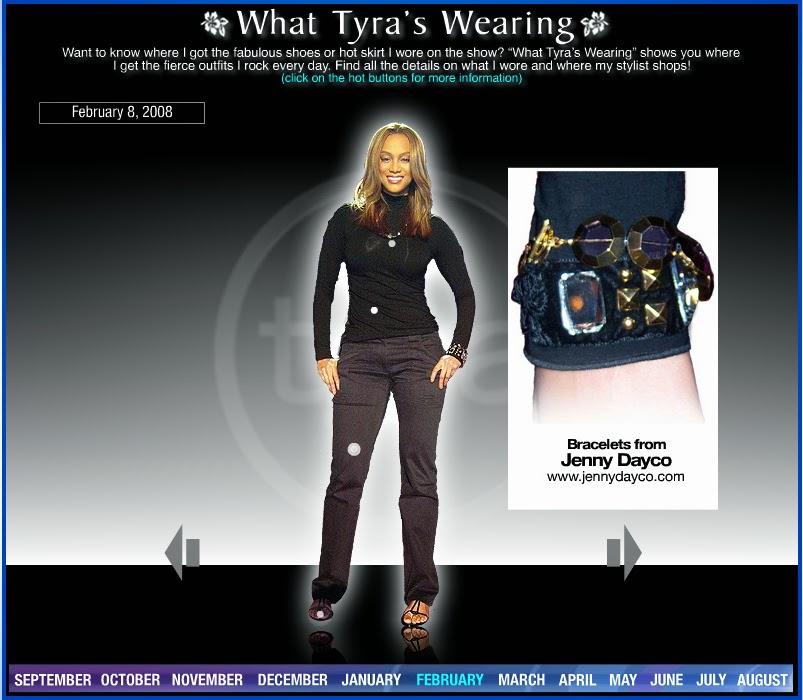 Tyra Banks wearing Jenny Dayco bracelets
