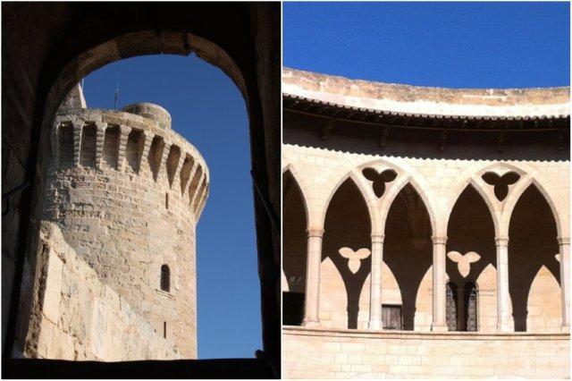 Torre y arcos en el Castillo de Bellver, Palma de Mallorca