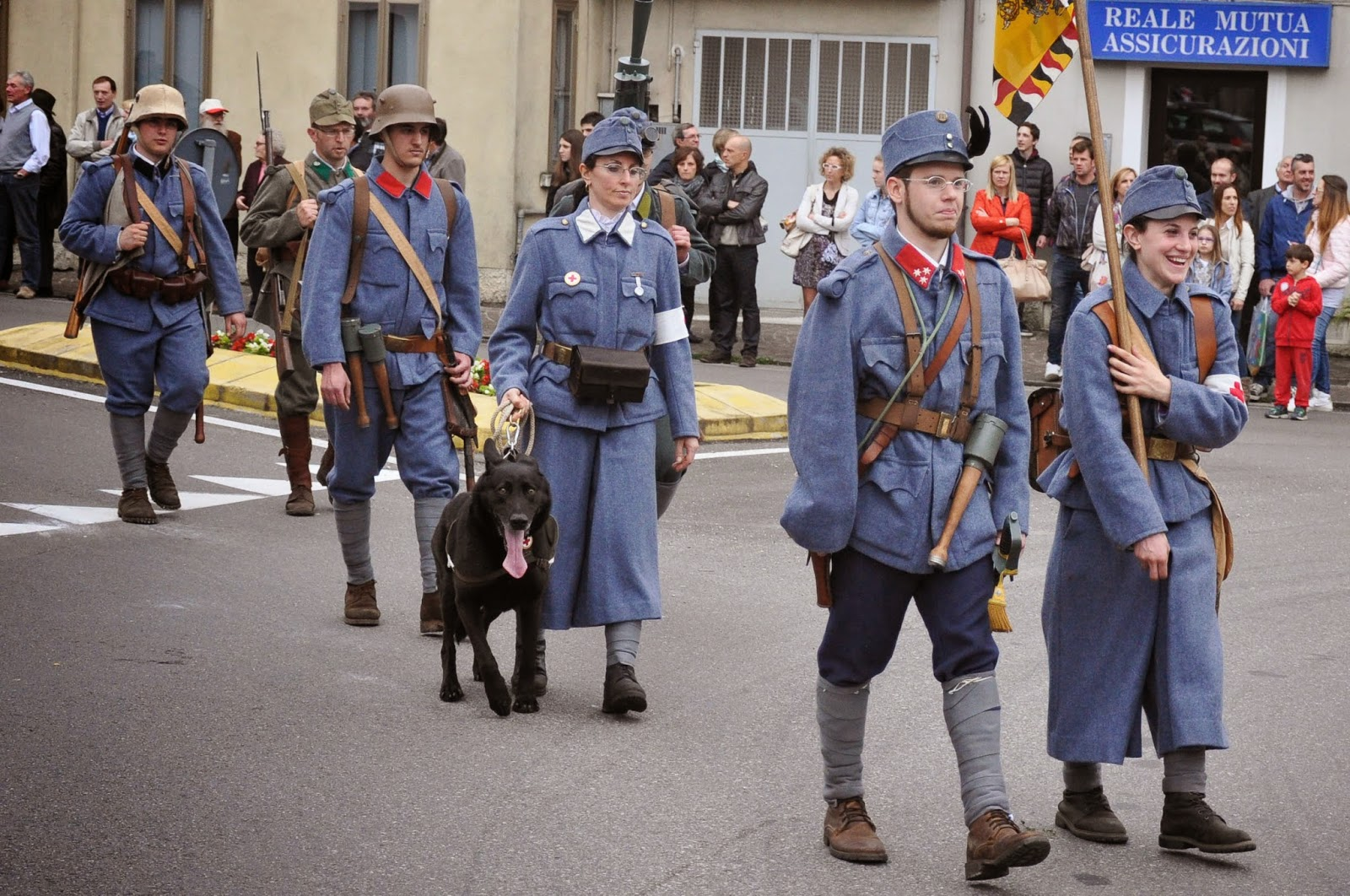 Soldiers at the Parade, Donkey Race, Romano d'Ezzelino, Veneto, Italy