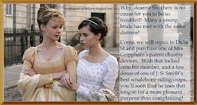 Captioned image of Regency femdom considering some purchases from local artisans