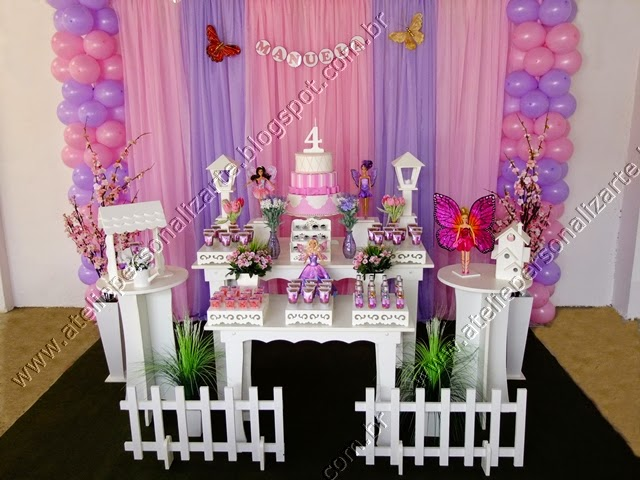 Decoração de festa infantil Barbie Butterfly