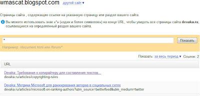 проиндексированные поисковой системой Яндекс ссылки с блога Devaka.ru по данным Яндекс.Вебмастер