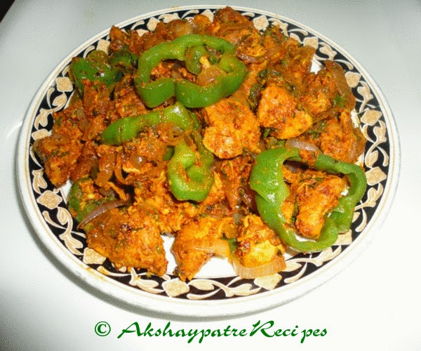 Chicken sukke in a serving plate