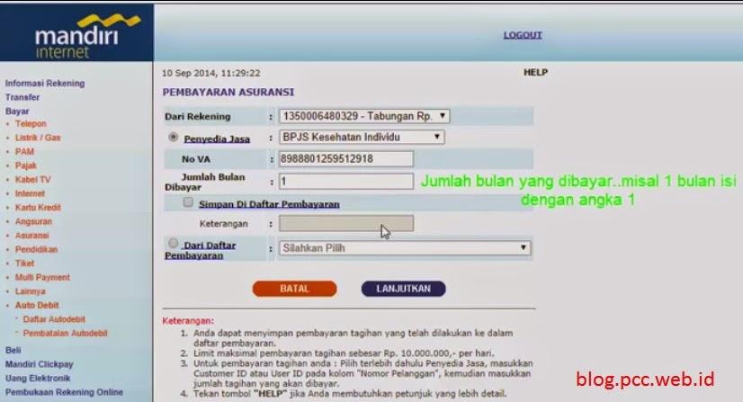 Cara Pembayaran BPJS lewat internet bangking mandiri