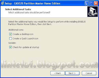 EASEUS Setup Select Additional Task