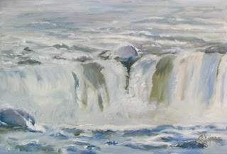 Ice at Niagara Falls oil painting