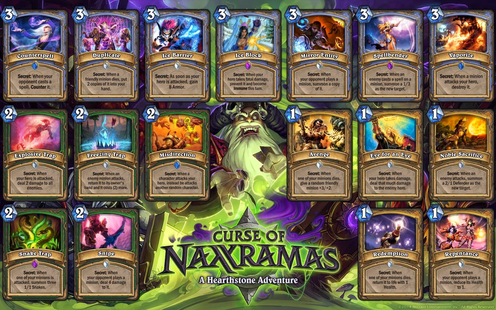 updated hearthstone secrets list [with naxx cards] ~ hearth//magic