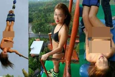 gadis cantik 17 tahun bungee jumping bugil