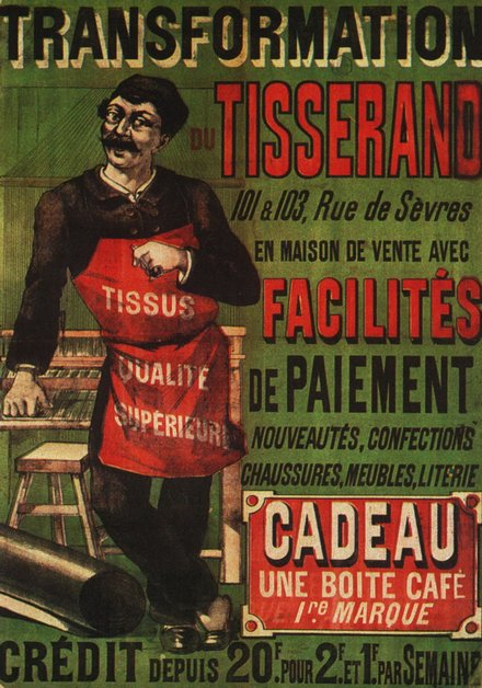 vintage, vintage posters, graphic design, free download, retro prints, classic posters, advertising, Transformation de Tisserand, Cadeau Une Boite Cafe - Vintage Advertising Poster