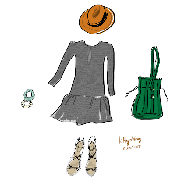 Digital drawing clothing collage like Polyvore, orange hat, green bag, black dress.