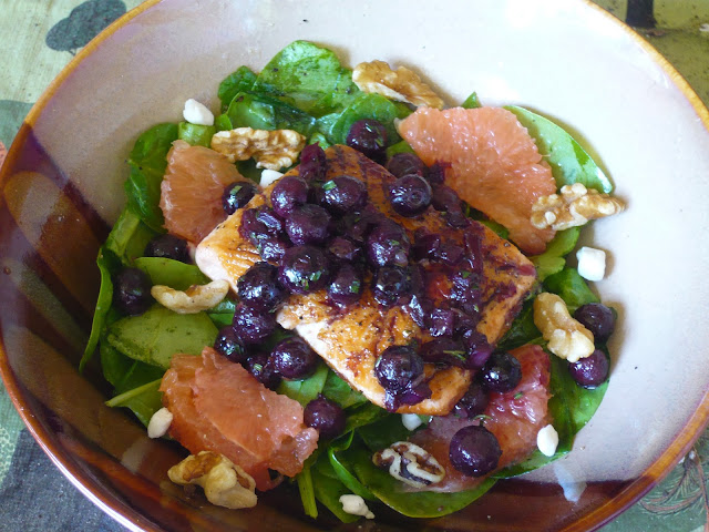Pan Seared Salmon Spinach Grapefruit Salad  with Blueberry Balsamic ...
