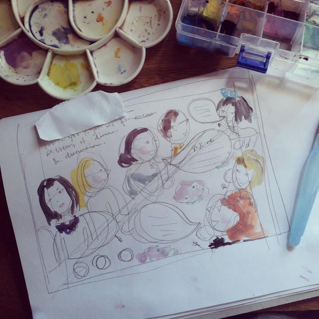 gouache rough in sketchbook