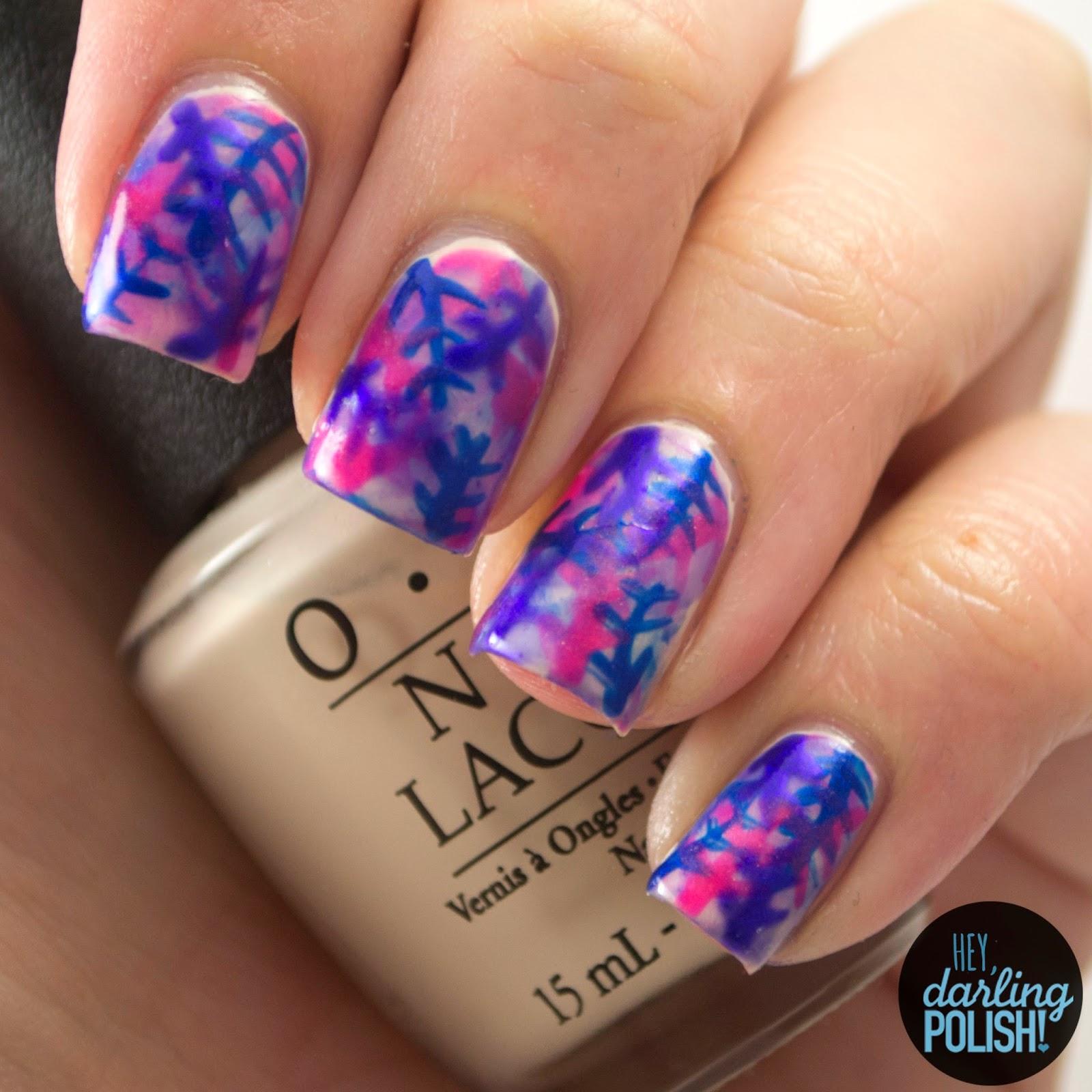 nails, nail art, nail polish, polish, golden oldie thursdays, tropical, pink, blue, purple, hey darling polish