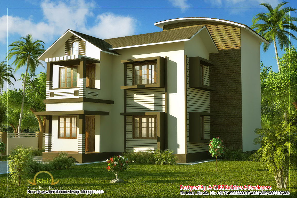 Duplex villa elevation 1661 sq ft kerala home design and floor plans - Beatiful home pic ...