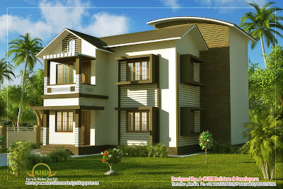 Duplex Villa Elevation - 1661 Sq. Ft - Kerala home design and ...