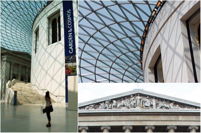 Gran Atrio de la Reina Isabel II y fachada neoclásica del British Museum, Museo Britanico en Londres