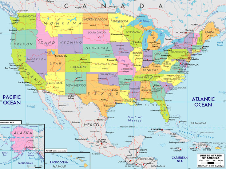 Usa map with states and cities pictures map of manhattan for United states of america cities