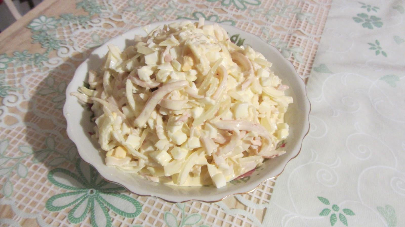 салат с кальмаром рецепт с фото классический яйца