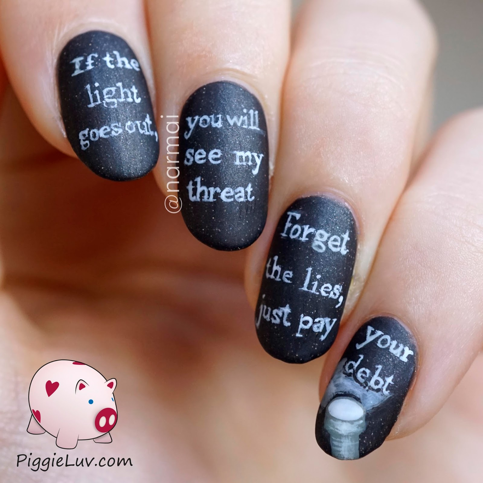 PiggieLuv: Glow in the dark threat message nail art