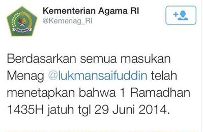 Hasil Keputusan Penetapan Awal Bulan Ramadhan 2014 Oleh Kementerian Agama RI (Ahad, 29 Juni 2014)