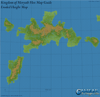 Kingdom of Meryath, Great Caldera, Calidar, Eroded Height Map Hex Guide, Albers Equal Area Projection