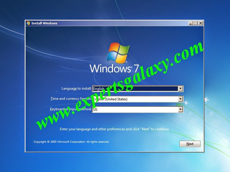Windows 7 Setup Screen Options