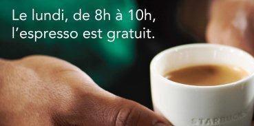 Un espresso GRATUIT à Starbucks tous les lundis