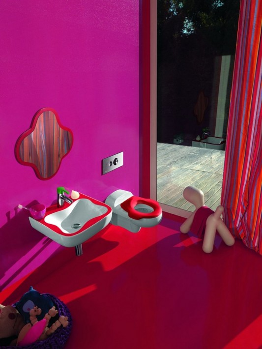 Baño Ninos Decoracion: muy coloridos con muebles Florakids de Laufen
