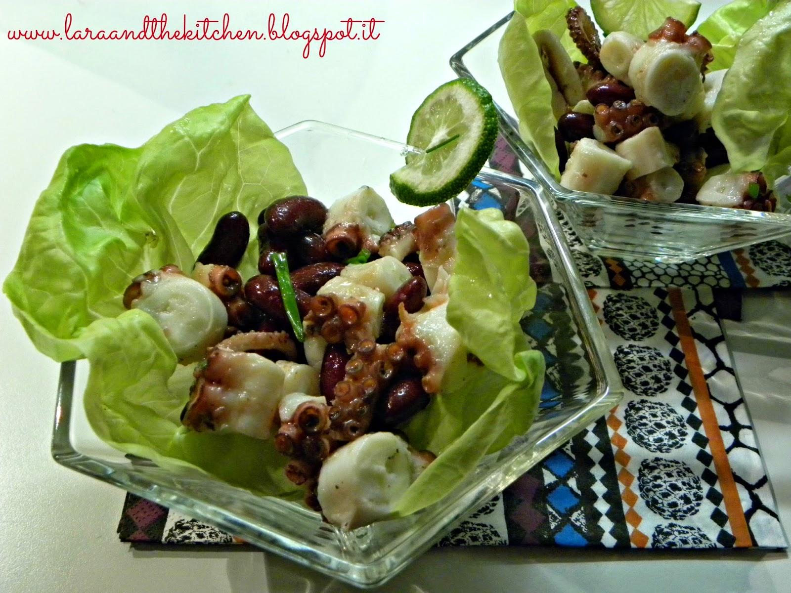 insalata di polpo con lime e fagioli rossi