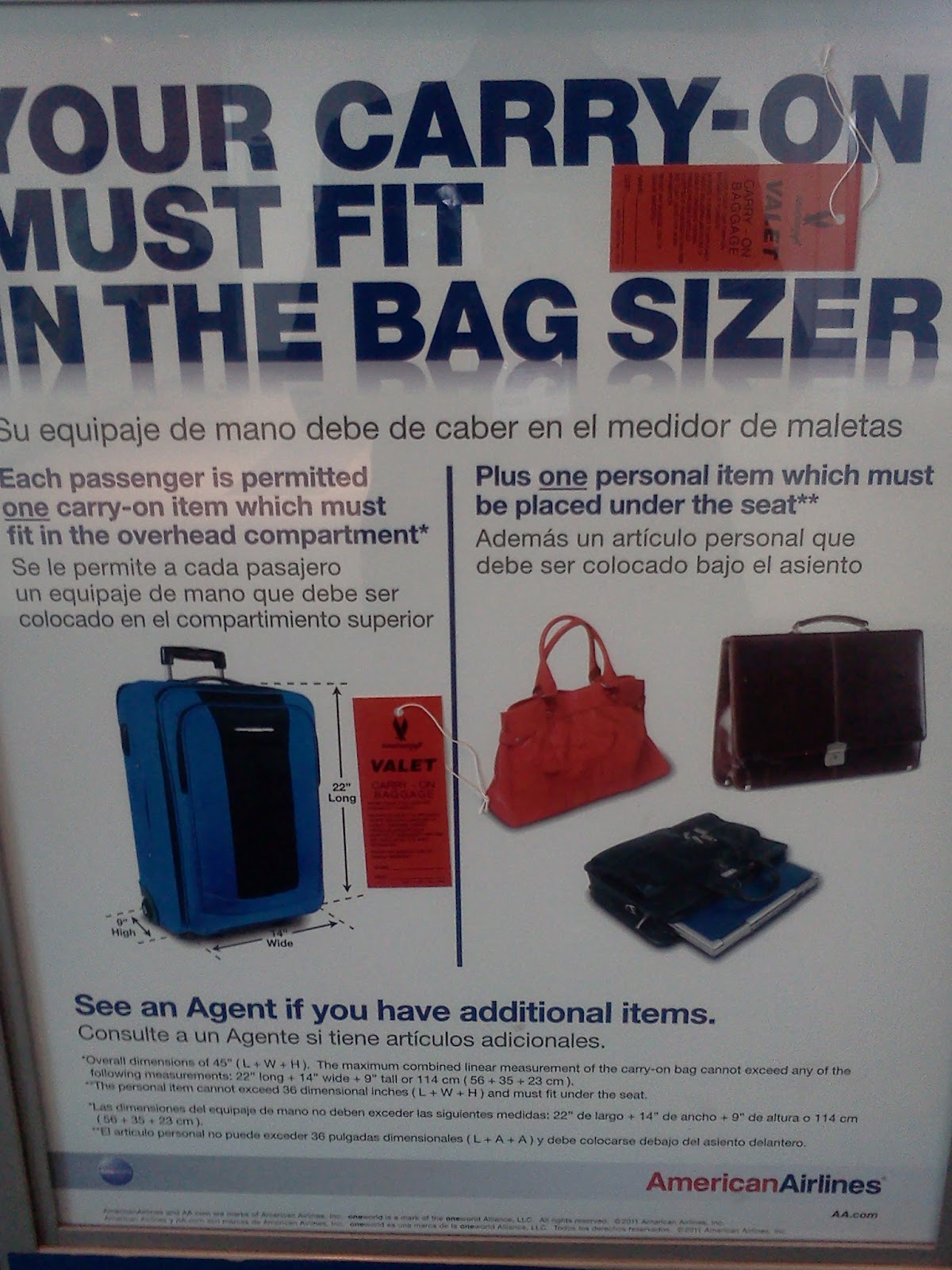 "American Airlines American Eagle Carry-On Bag Must Fit In The Bag Sizer 22"" L x 14"" W x 9 "" H"""