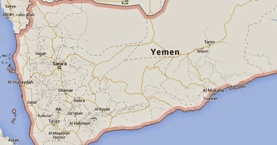 Houthi rebels announced they were assuming country of Yemen on Friday.  (Image:  Google maps)