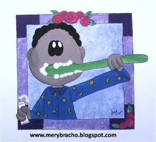 mural creativo consultorio dental niño se cepilla dientes