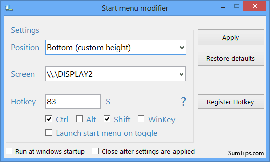 Start Menu Modifier