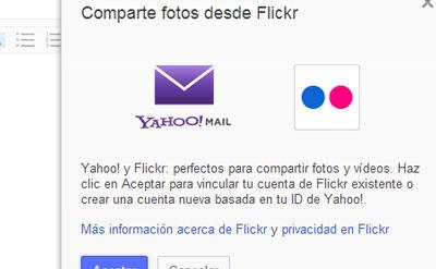 adjuntar archivos yahoo flickr correo