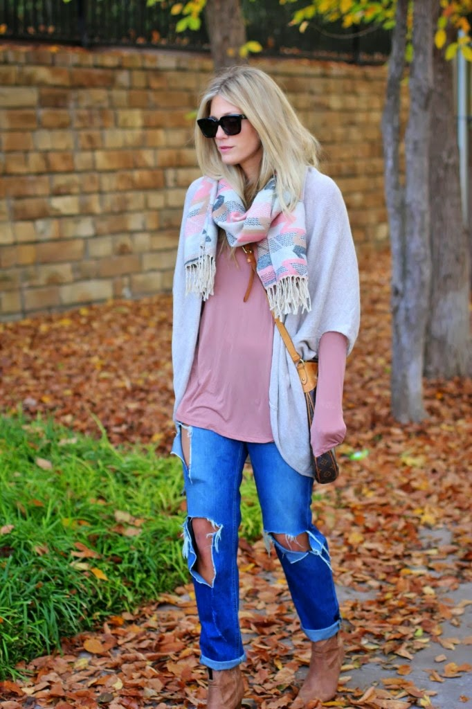 A Cozy Tribal Scarf with denim jeans