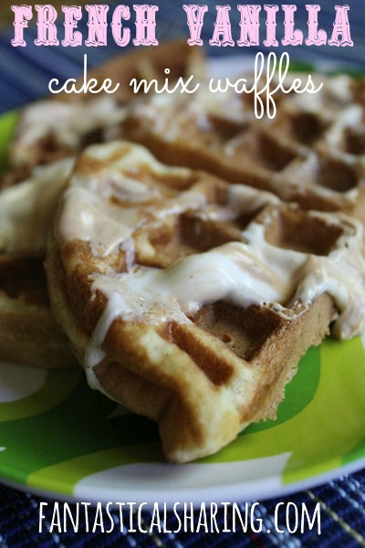 French Vanilla Cake Mix Waffles | 1 box of cake mix away from a sweet breakfast for the whole family to enjoy | www.fantasticalsharing.com