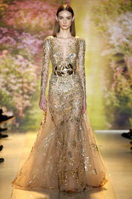 sublime robe haute couture or doré dentelle transparente cérémonie mariage soirée défilé printemps été 2014 Haute couture Zuhair Murad