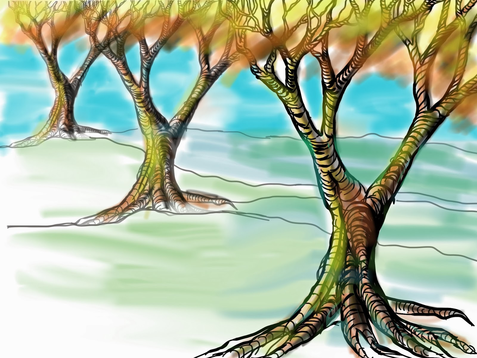 The Helpful Art Teacher: Drawing and painting trees: Light and ...