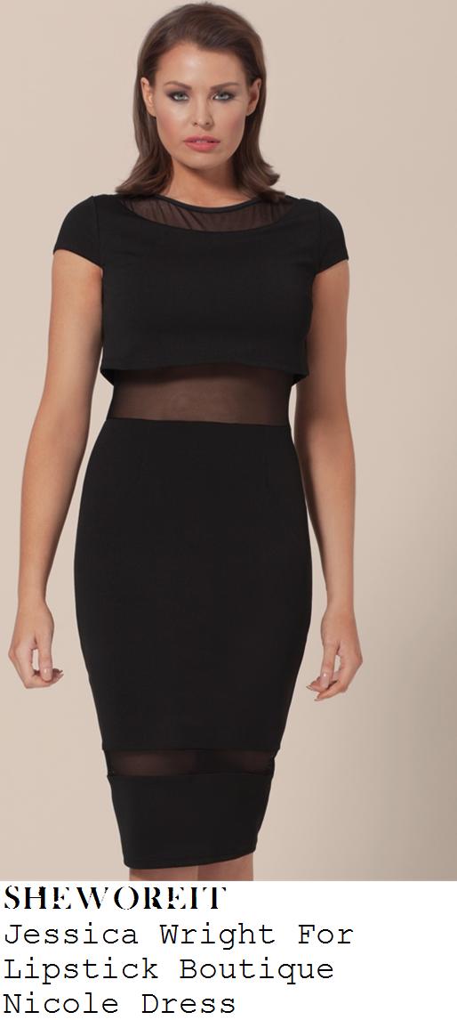 jessica-wright-black-sheer-mesh-panel-cap-sleeve-bodycon-dress