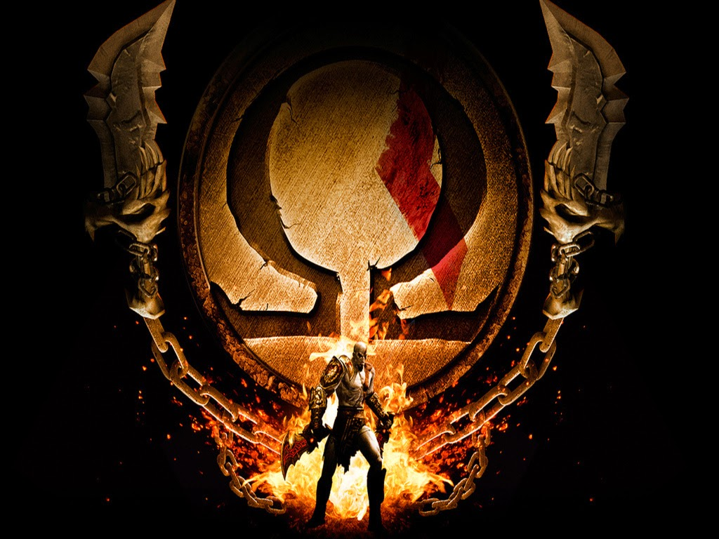 god of war logo with kratos in front