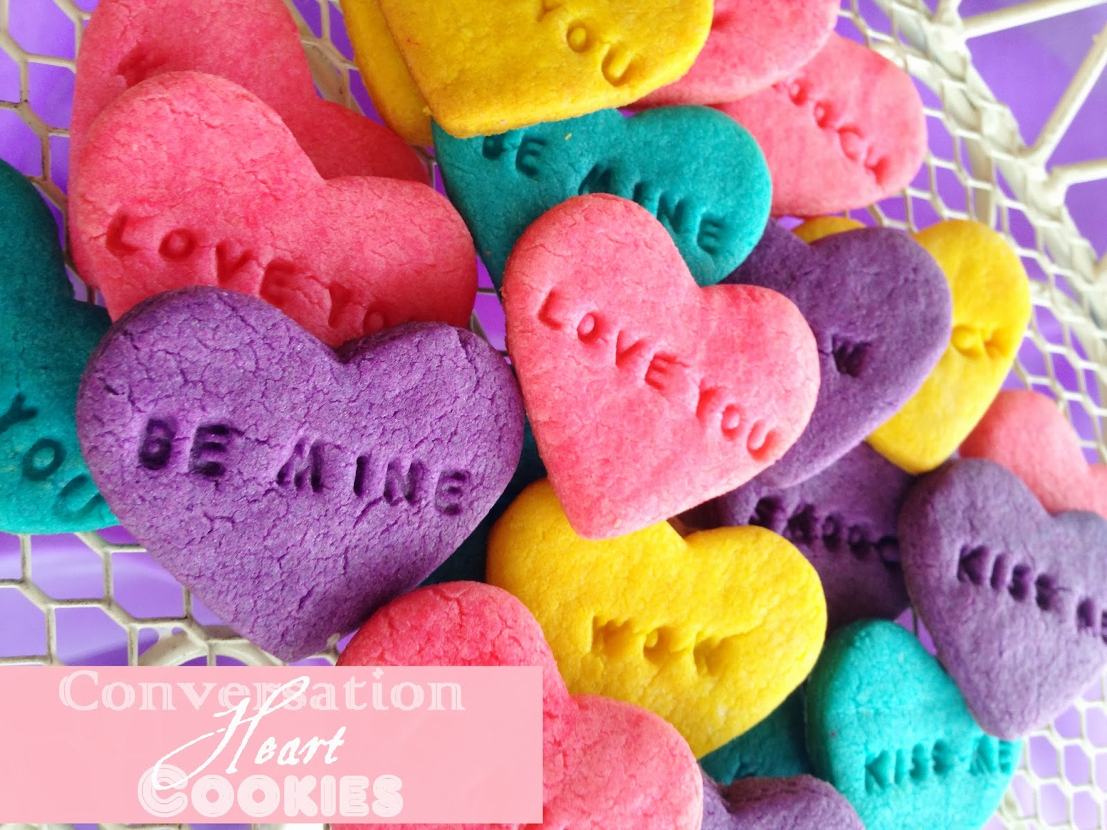 Conversation Heart Cookies - Purple Chocolat Home