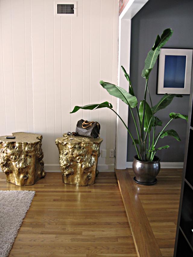 golden stumps side tables, gold leaf log table