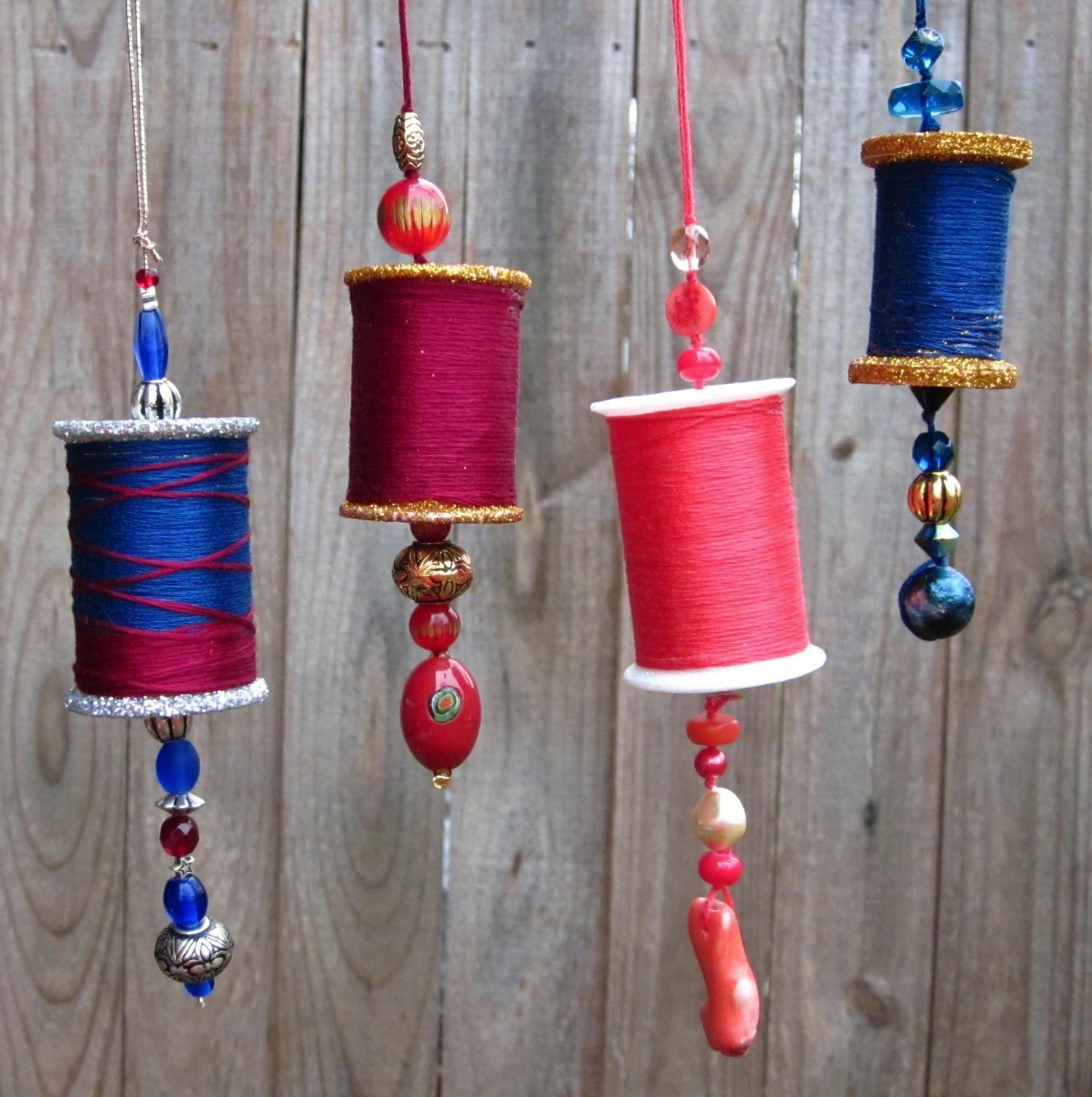 diy recycled bobbin christmas ornaments - Recycled Christmas Ornaments