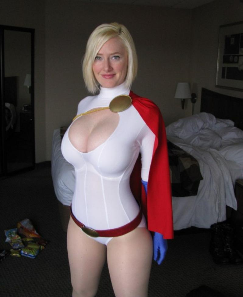 Power girl cosplay huge speaking, would