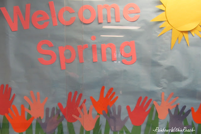 Handprint bulletin board for spring, flower handprints