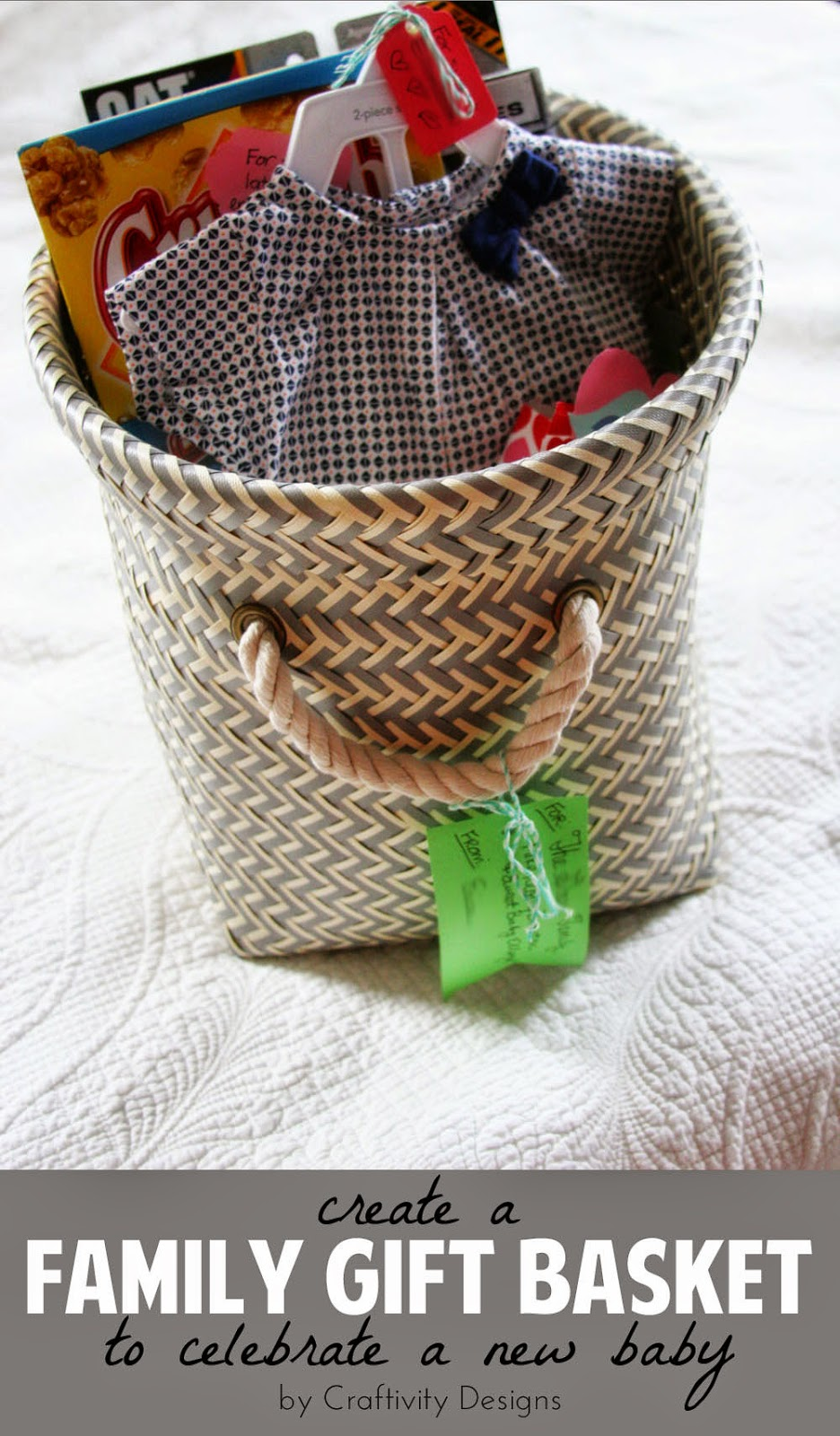 For a second {or third, or fourth, or...) baby, put together a family gift basket. Include something special for the new big brother(s)/sister(s)! // by Craftivity Designs